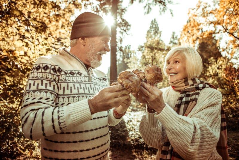 Marido e esposa que guardam cogumelos e que olham se imagem de stock royalty free