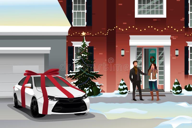 Marido que da el regalo de la Navidad de la esposa stock de ilustración