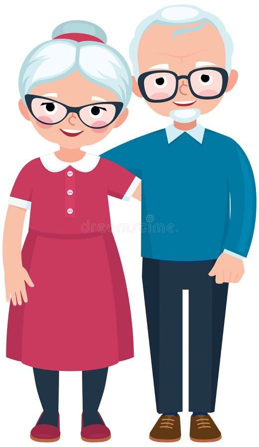 Marido y esposa cariñosos mayores de los pares en integral libre illustration