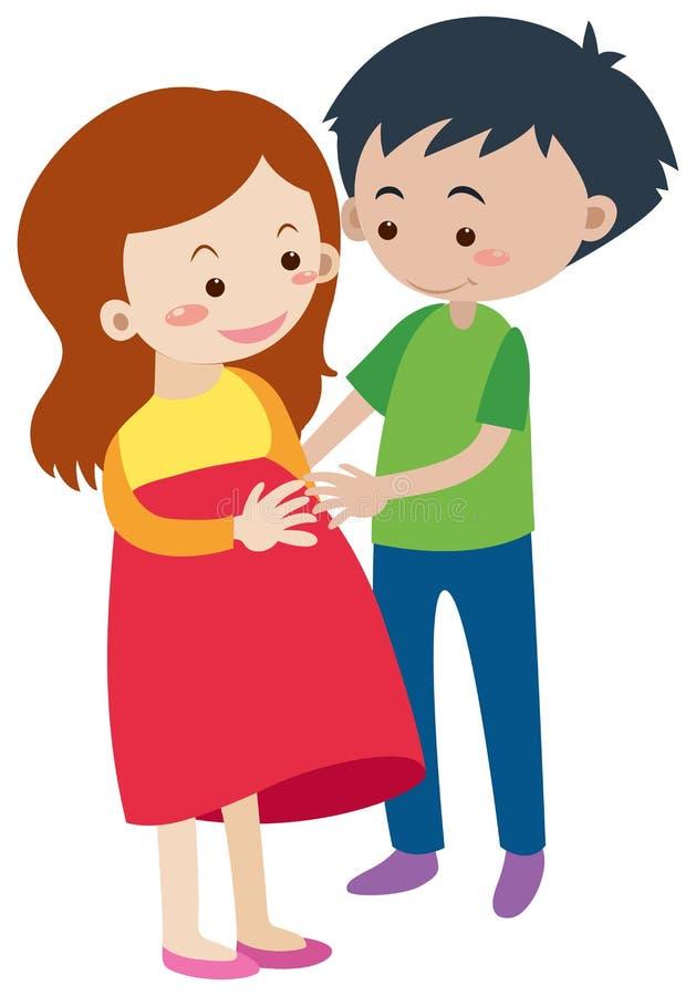 Marido y esposa embarazada ilustración del vector
