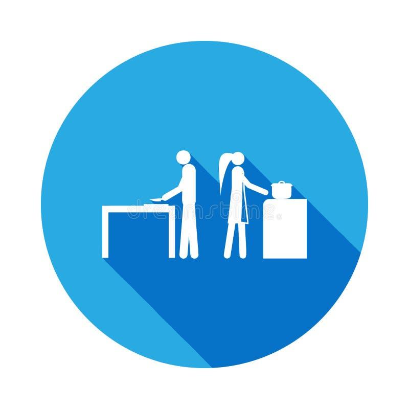 marido y esposa en el icono de la cocina Elemento del ejemplo casado vida de la gente Muestras e icono de la colección de los sím stock de ilustración