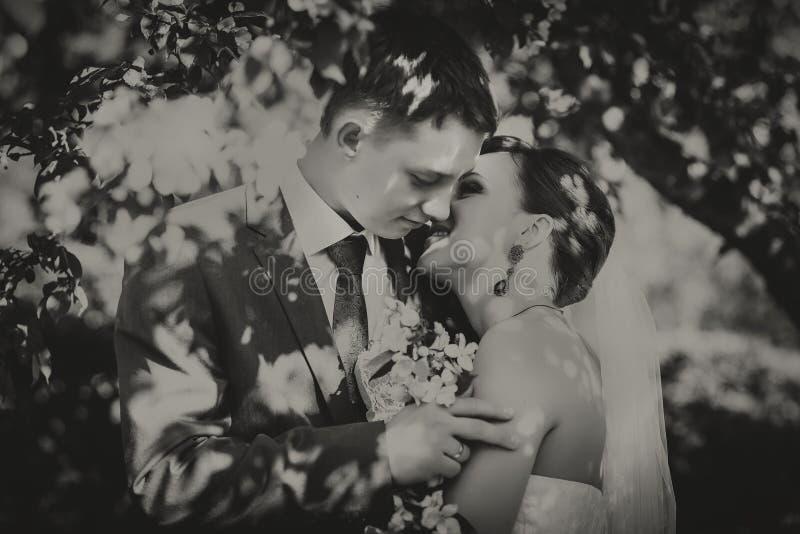 Marido y esposa jovenes felices, en flores, miran el ramo Fotografía blanca negra imagen de archivo
