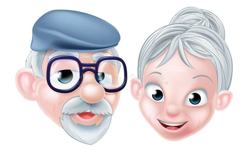 Marido y esposa mayores felices de la historieta stock de ilustración