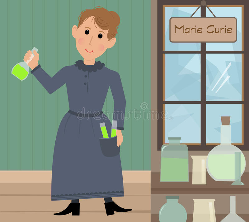 Marie Curie illustration stock illustrationer