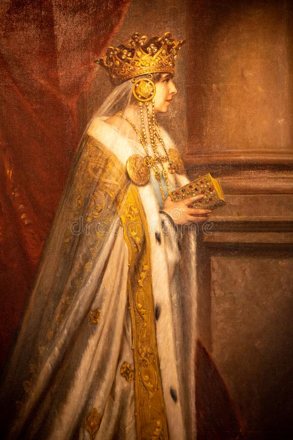 Marie of Romania panting. Queen Mary of Romania stock image