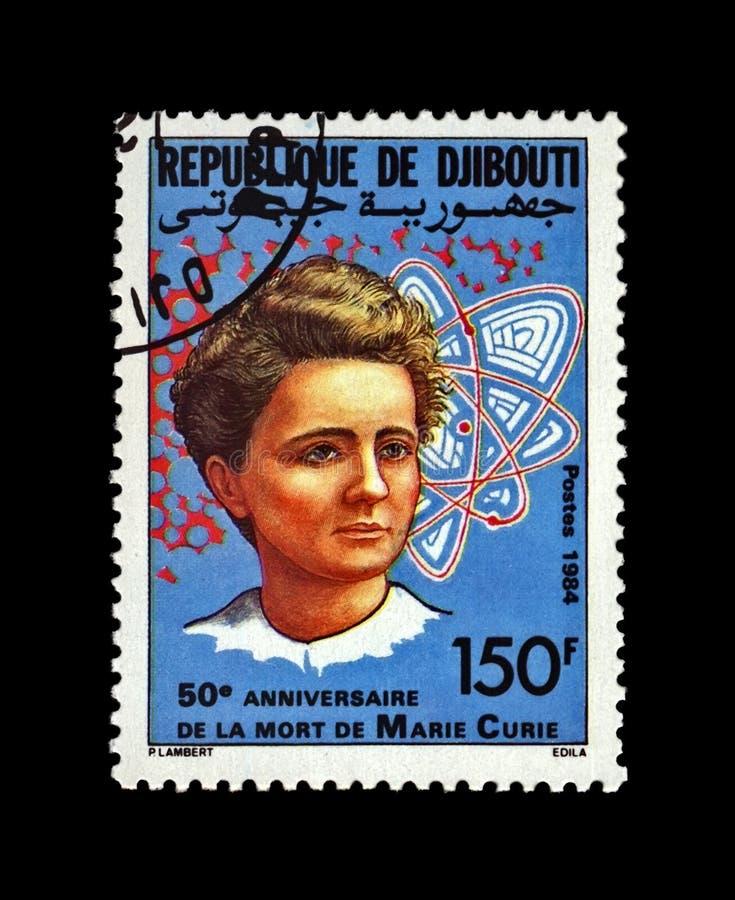 Marie Sklodowska-Curie, ganador del premio polaco famoso Nobel, phisicist, científico, observador de la radiactividad, Djibouti,  foto de archivo