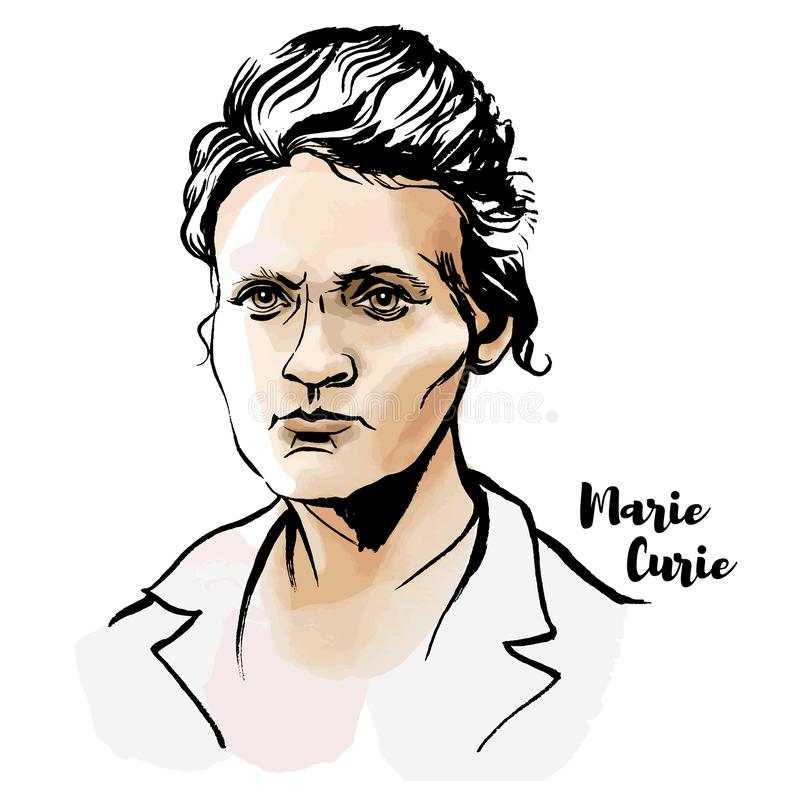 Marie Curie Portrait. Marie Sklodowska Curie watercolor vector portrait with ink contours. The first woman to win a Nobel Prize