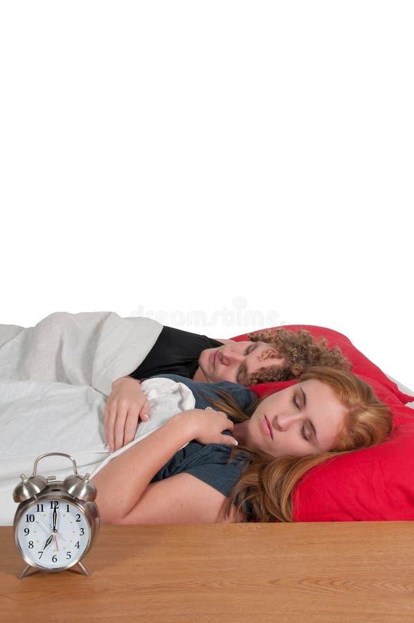 Maried para w łóżku obrazy stock