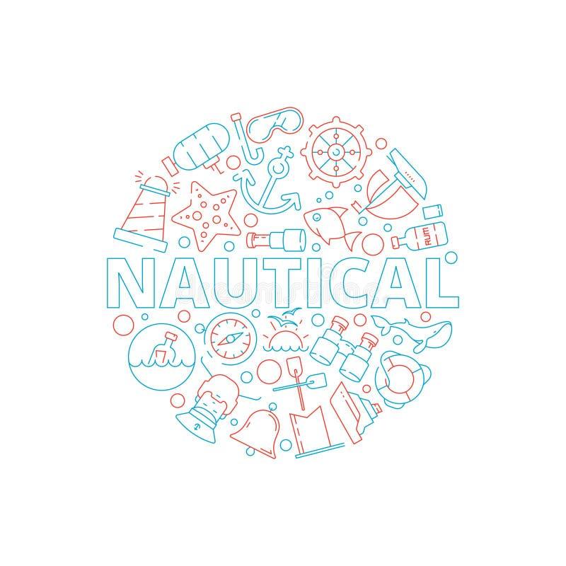 Marien concept De zeevaartbeelden vissen de vorm van de het jachtcirkel van de bootzeekapitein met mariene symbolen vectorachterg royalty-vrije illustratie
