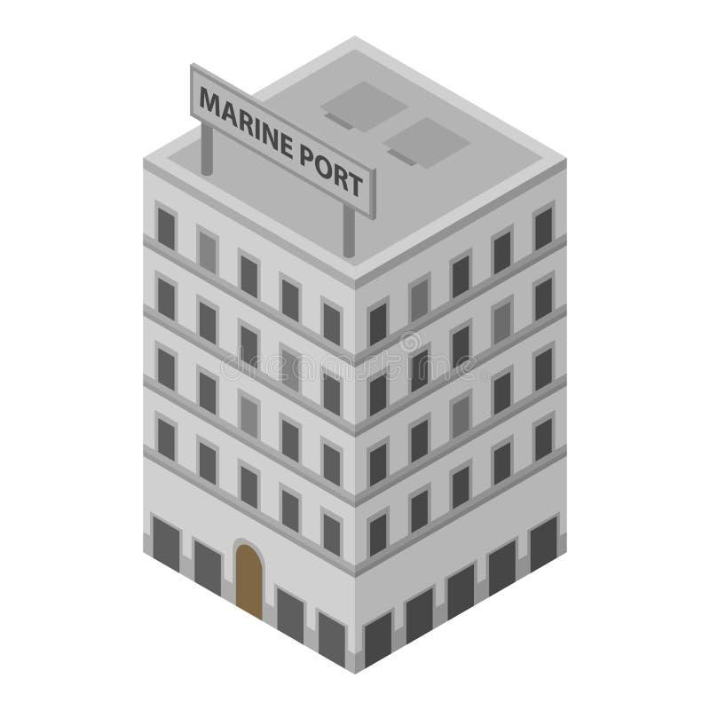 Marien haven de bouwpictogram, isometrische stijl stock illustratie