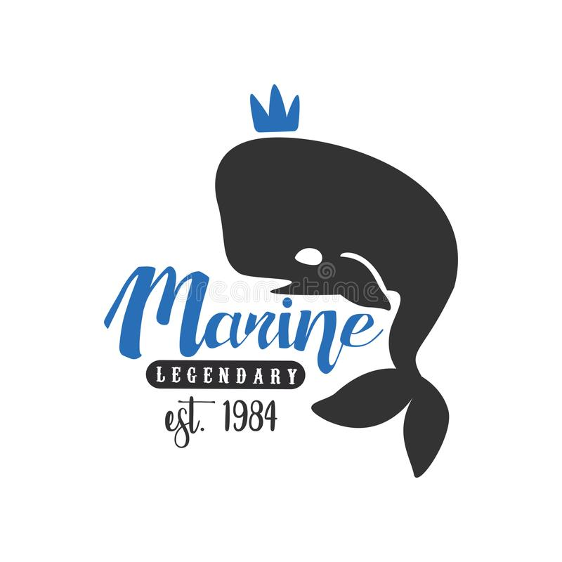Marien legendarisch embleem est 1984, ontwerpelement met walvis voor zeevaartschool, sportclub, bedrijfsidentiteit, druk stock illustratie