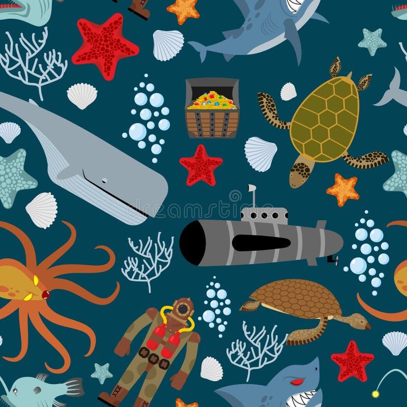 Marien naadloos patroon Inwoners van de oceaan Keith en aqu vector illustratie