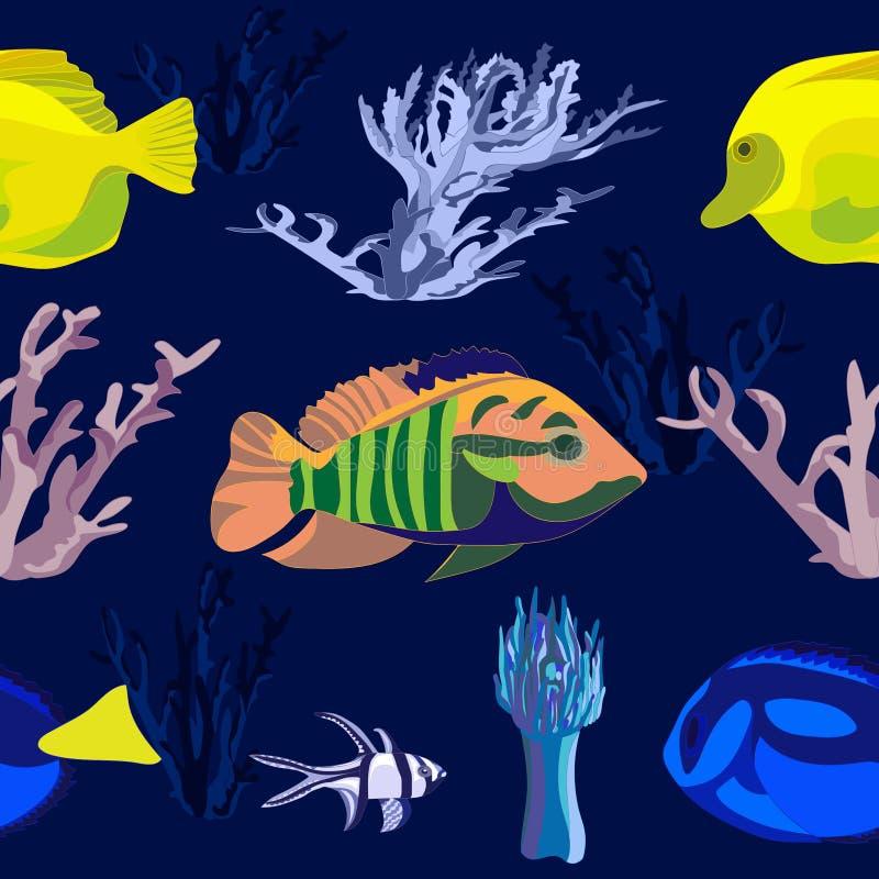 Marien naadloos patroon van heldere gele, blauwe en gestreepte tropische vissen en kleurrijke koralen op blauwe achtergrond stock illustratie