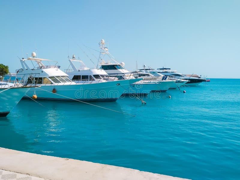 Marien parkeren van mooie jachten en boten op duidelijk kalm water in Egypte Het concept van de reis en van het toerisme stock foto