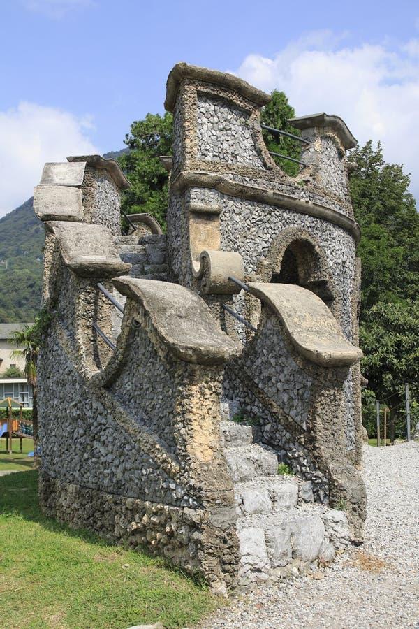 Marien ` s grota w jawnym miasteczko parku willa Camilla w Domaso jeziorze Como obraz royalty free