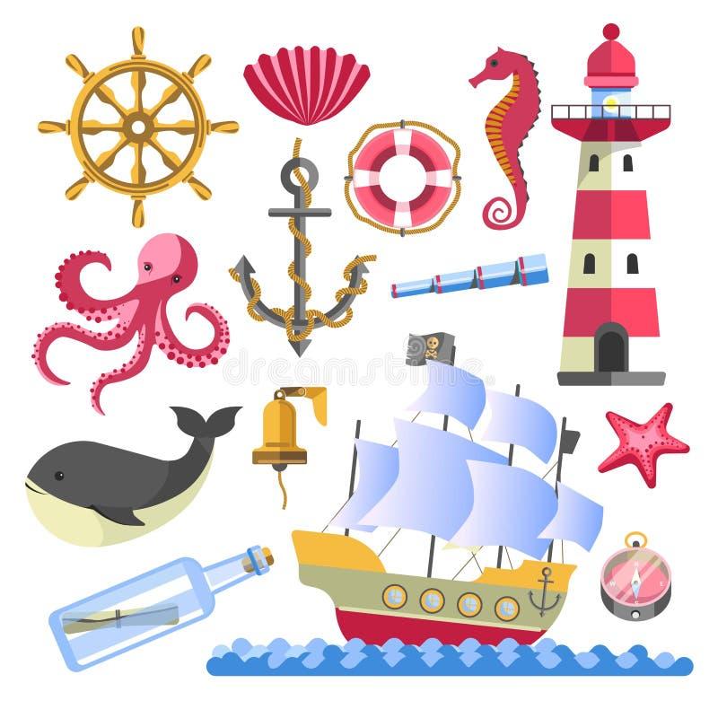 Marien symbolen onderwaterdieren en schip met baken royalty-vrije illustratie