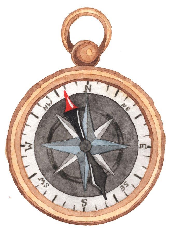 Marien thema Kompas op een witte achtergrond Waterverf Handpainting vector illustratie