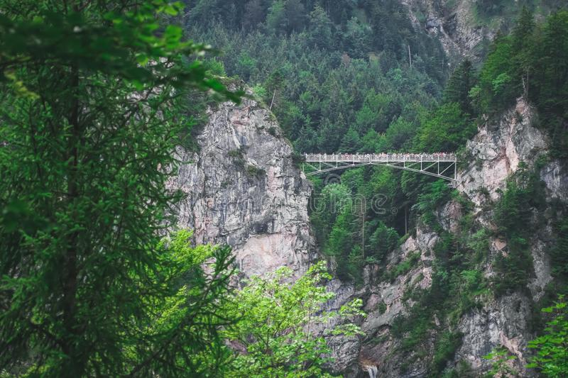 Marienbrucke or Bridge of Queen Mary spanning the spectacular Pollat Gorge near Schloss Neuschwanstein castle, Germany. Marienbrucke or Bridge of Queen Mary royalty free stock photos