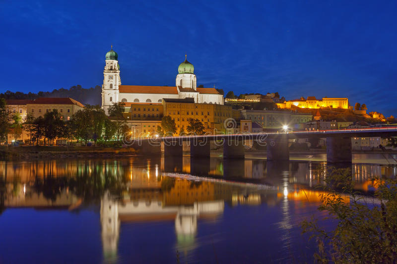 Marienbrucke and St. Stephan Cathedral, Passau stock photography