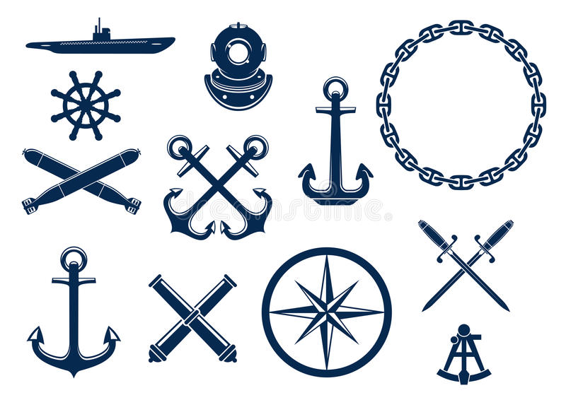 Mariene en zeevaart geplaatste pictogrammen stock illustratie