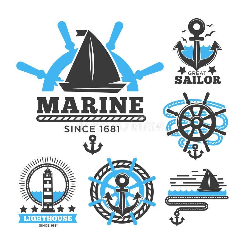 Mariene en zeevaartembleemmalplaatjes of heraldische symbolen royalty-vrije illustratie