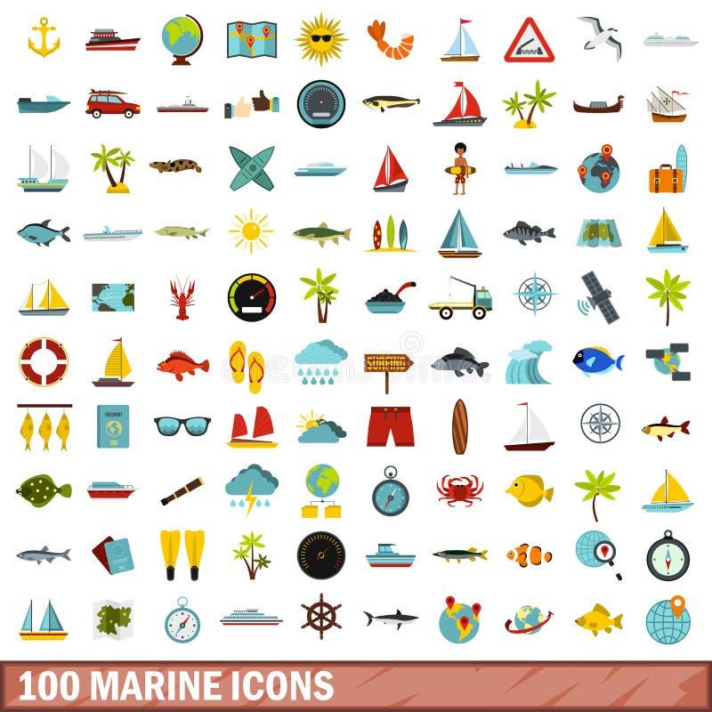 100 mariene geplaatste pictogrammen, vlakke stijl vector illustratie