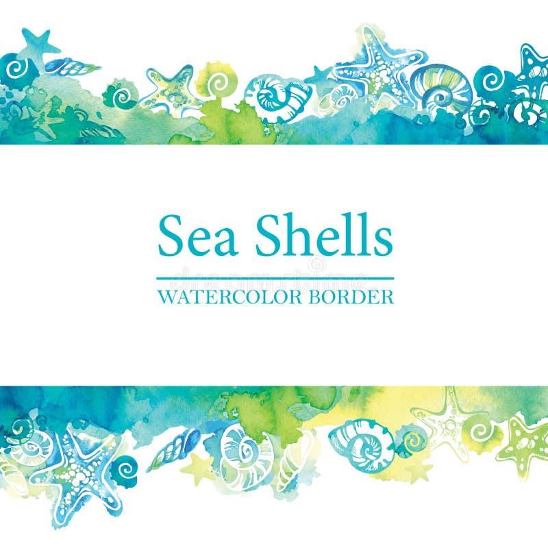 Mariene grens met waterverf overzeese shells Overzees het levenskader De achtergrond van de de zomerreis vector illustratie