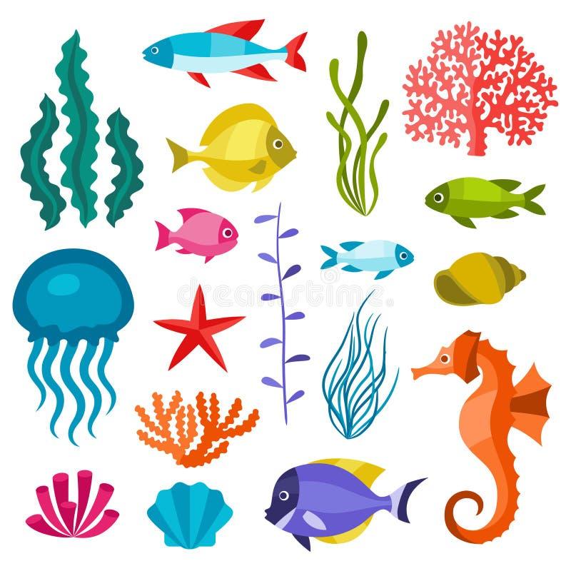 Mariene het levensreeks pictogrammen, voorwerpen en overzeese dieren vector illustratie