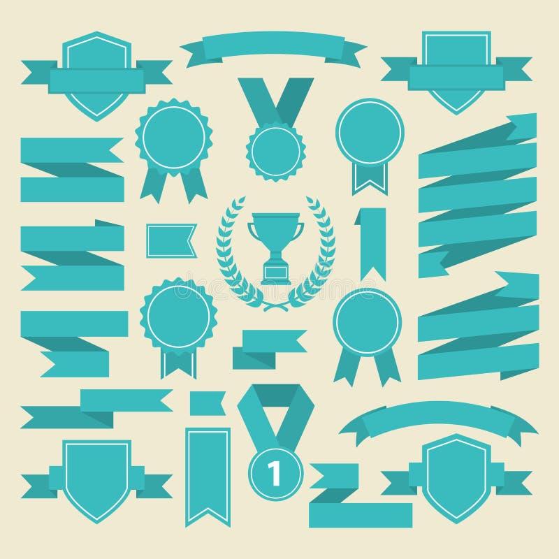 Mariene kleurenlinten, medaille, toekenning, kopreeks Vector stock illustratie