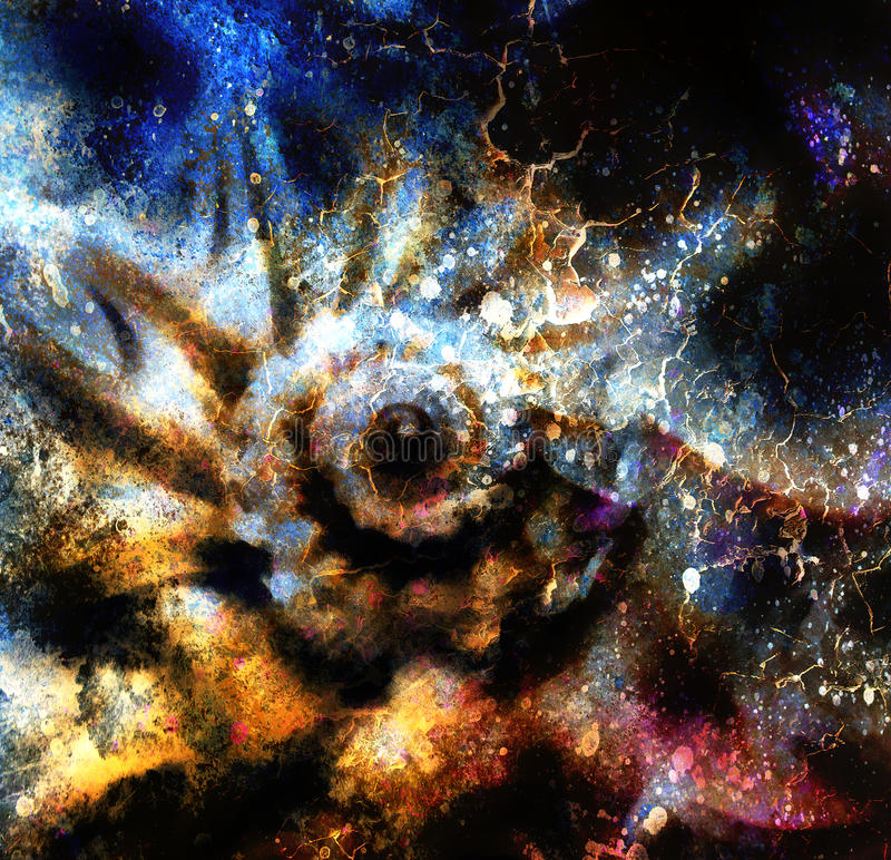 Mariene overzeese shell Het schilderen collage met abstracte kleurenbackgrou vector illustratie