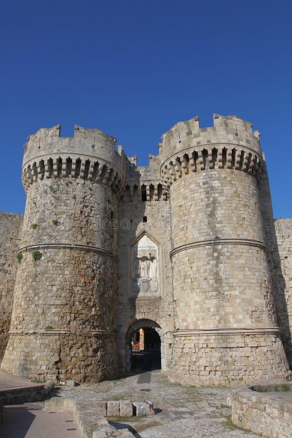 Mariene poort in de oude stad van Rhodos royalty-vrije stock afbeeldingen