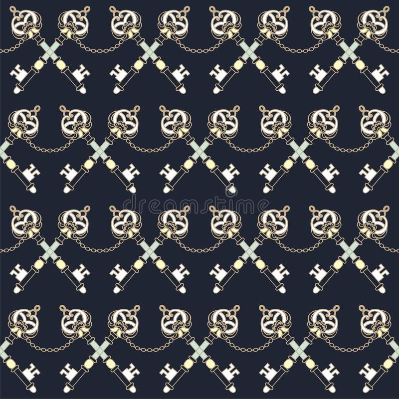 Mariene uitstekende sleutels en het decoratieve naadloze patroon van de manierstof royalty-vrije illustratie