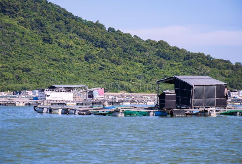 Mariene viskwekerij in Vietnam Drijvende huizen stock afbeelding