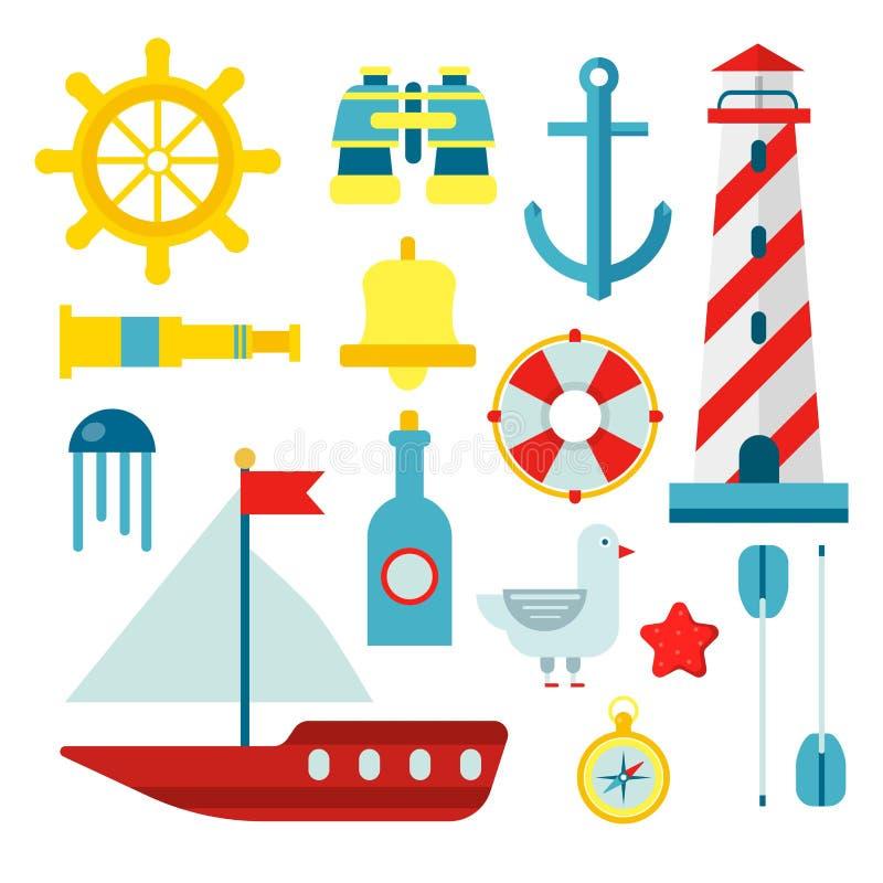 Mariene zeevaart geplaatste zeemanssymbolen en vector vlakke pictogrammen stock illustratie