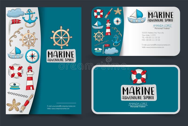 Mariene zeevaart het ontwerpreeks van de reis collectieve identiteit Vlieger en adreskaartjesmalplaatje Banners voor het winkelen royalty-vrije illustratie