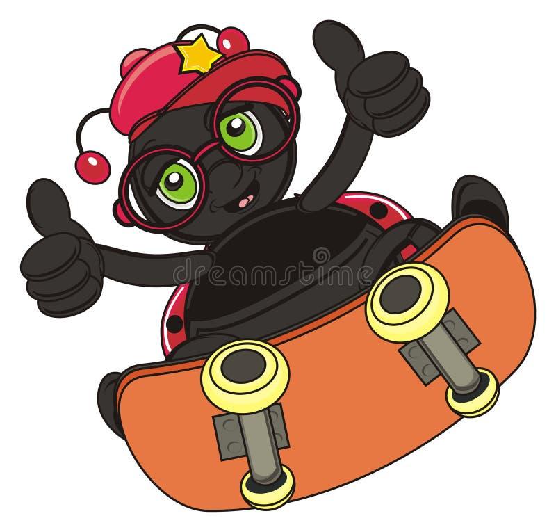 Marienkäfer auf dem Skateboard stock abbildung