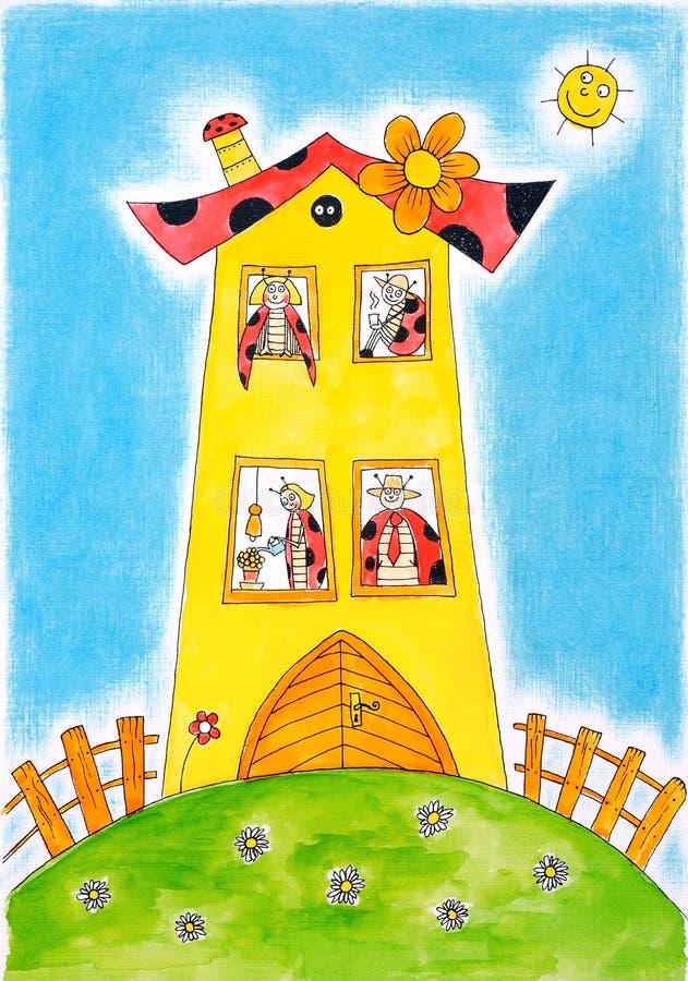 Marienkäferkäferfamilie, die Zeichnung des Kindes, Aquarellmalerei vektor abbildung