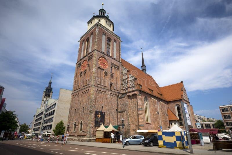 Marienkirche i mitten av Dessau, Tyskland royaltyfri foto