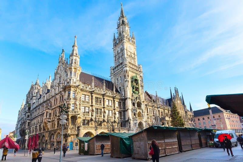 Marienplatz城镇厅在慕尼黑,德国 免版税库存图片