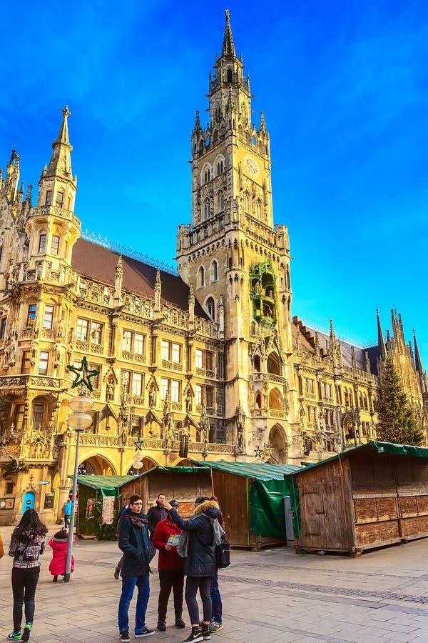 Marienplatz城镇厅在慕尼黑,德国 库存图片