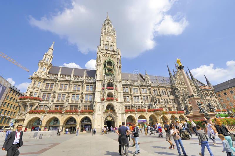 Marienplatz Miasto urząd miasta obrazy stock