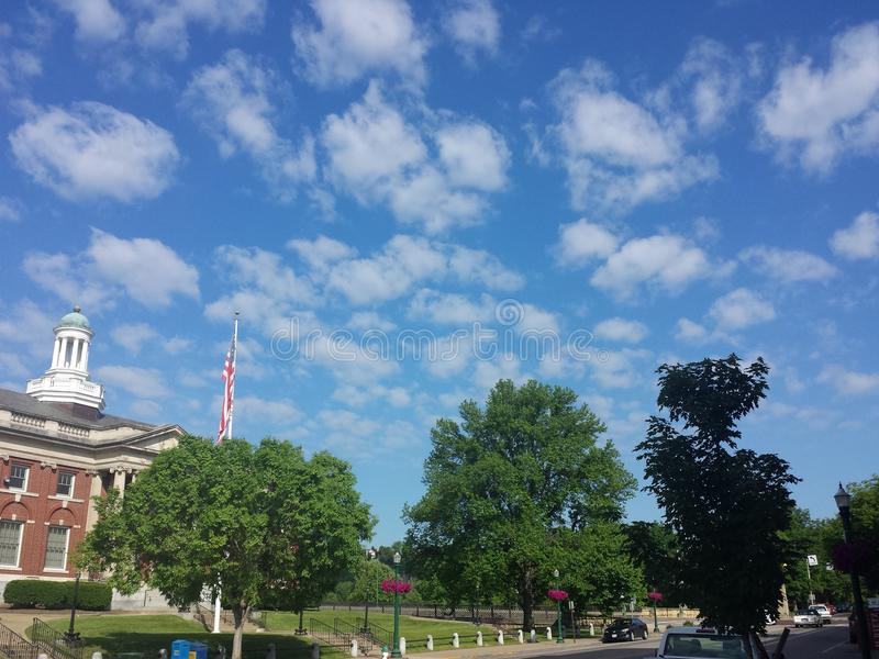 Marietta ohio post office. Beautiful cloudy skies over Marietta ohio post office royalty free stock image