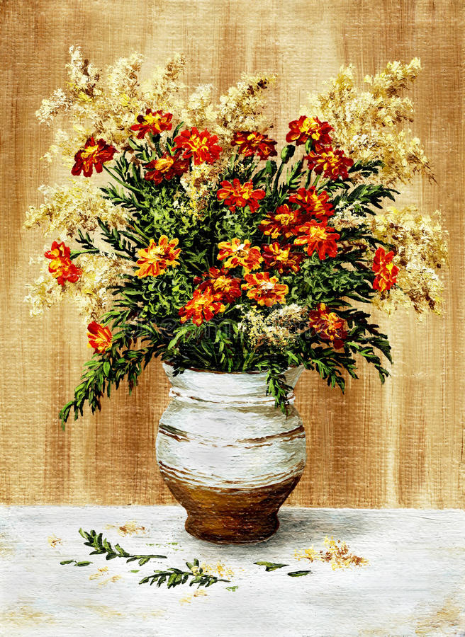 Marigold in a ceramic pot. Picture oil paints on a canvas: a bouquet of marigold in a ceramic pot royalty free illustration