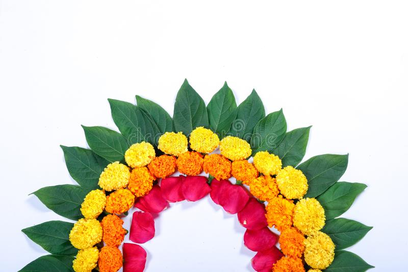 Marigold Flower rangoli Design for Diwali Festival , Indian Festival flower decoration stock image