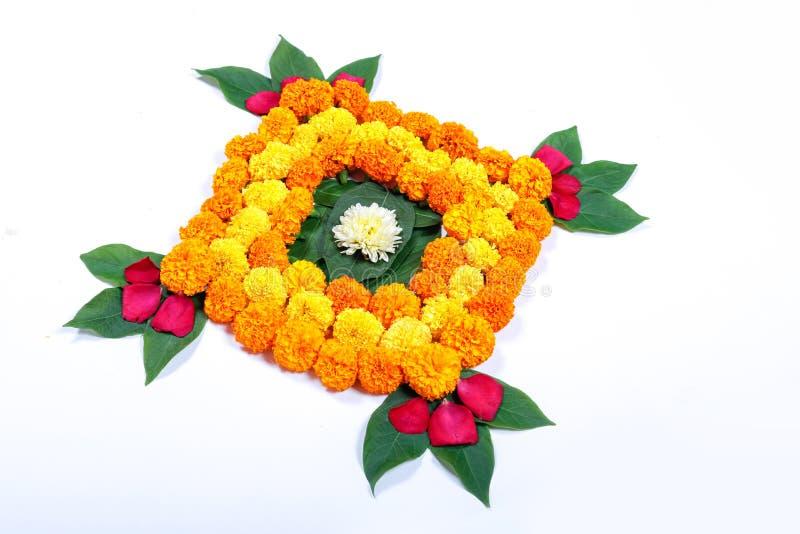 Marigold Flower rangoli Design for Diwali Festival , Indian Festival flower decoration.  stock photos