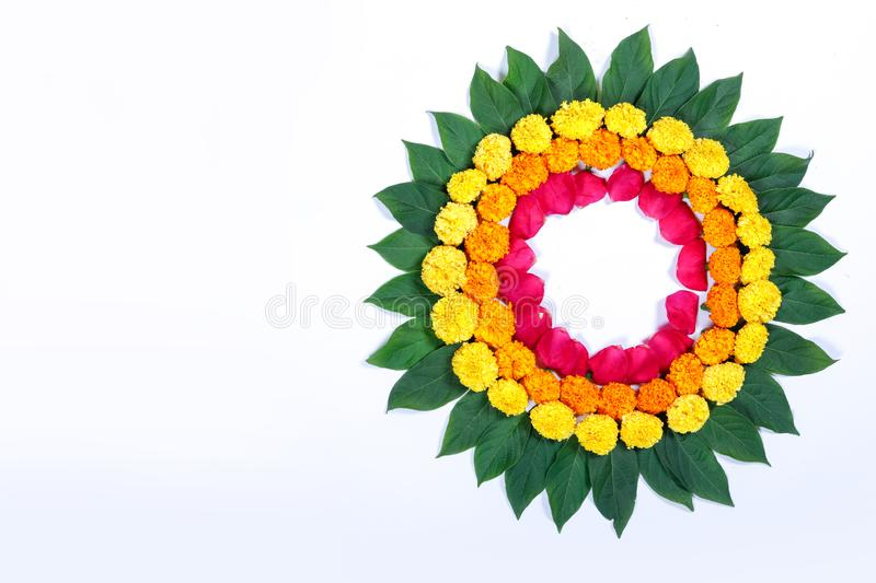 Marigold Flower rangoli Design for Diwali Festival , Indian Festival flower decoration stock images
