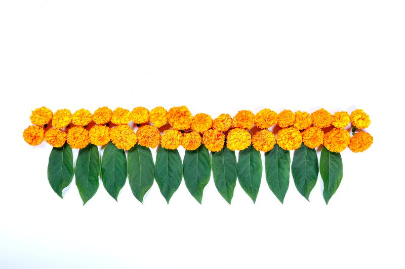 Marigold Flower rangoli Design for Diwali Festival , Indian Festival flower decoration stock photography