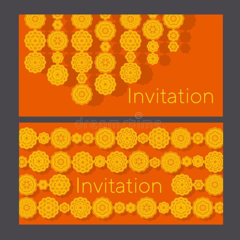 Marigolds γεωμετρικό floral σχέδιο στο ινδικό ύφος ελεύθερη απεικόνιση δικαιώματος