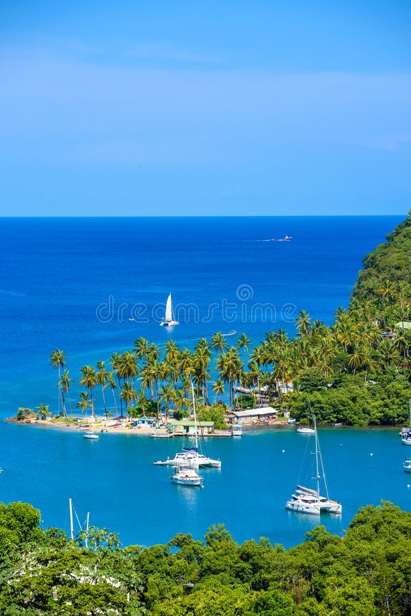 Marigot Bay, Saint Lucia, Caribbean. Tropical bay and beach in exotic and paradise landscape scenery. Marigot Bay is located on stock images