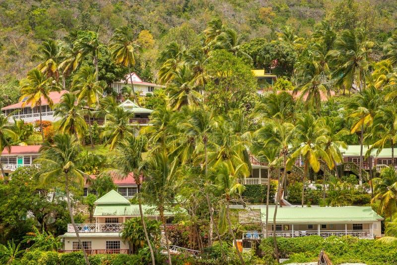 Marigot-Bucht-St. Lucia, karibisches Meer lizenzfreie stockfotos